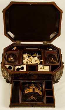 Chinese Export Lacquer Sewing Box