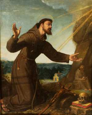 Italian School, 18/19th century, oil on canvas of St. Frances of Assisi