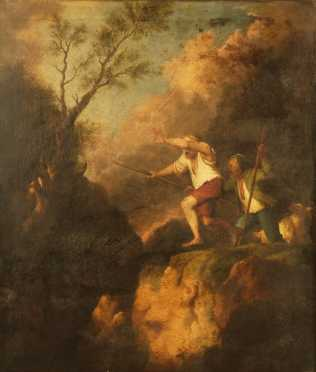 """Jacques Phillipp de Loutherbourg Attributed painting titled, """"Boys frightened by a jackal"""""""