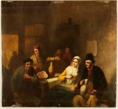 Old Master Style, 18/19th  century, oil on board of a tavern scene