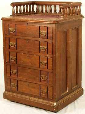 Organette And Five Drawer Roll Cabinet with 14 rolls of music