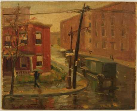 Max Wallerberger, oil on board of a 1930's city street corner