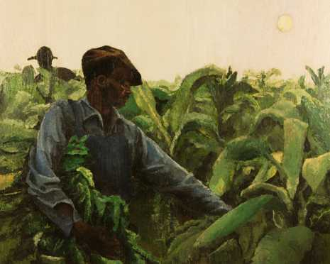 L.J. Lowgill, oil on panel of 2 African American men picking tobacco