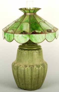 Hampshire Pottery Lamp & Shade
