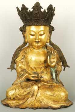 Gilded Chinese Bronze Seated Buddha