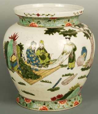 Chinese Famille Vert Figural Jar