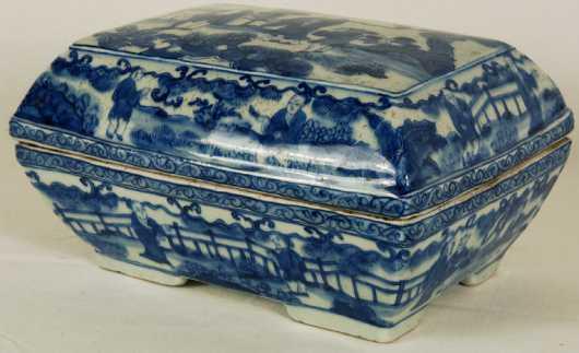 Blue & White Porcelain Covered Box