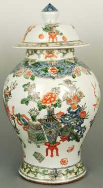 Chinese Famille Vert Covered jar
