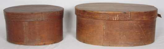 Two Oval Storage Boxes, 19th century