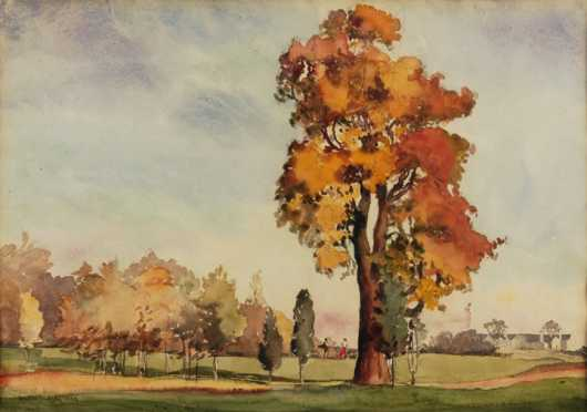 Waldo Park Midgley, watercolor  of a fall golf course scene