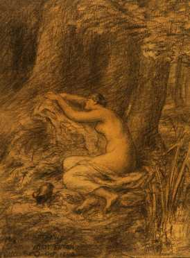 "Wyatt Eaton, ""Nymph of Spring"" charcoal"