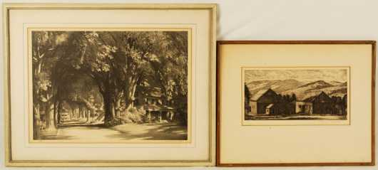 Lot of two etchings