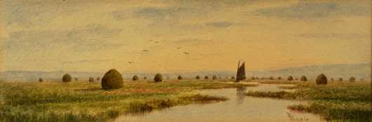 Frank Thurlo, watercolor of Plum Island River and Marshes