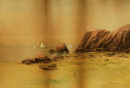 John Clifford Huffington, watercolor of a coastal scene