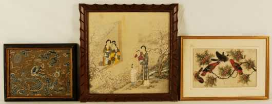 Chinese Art on Silk and Pith, a domestic scene