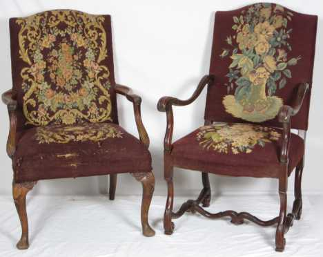 Two Lolling Style Arm Chairs