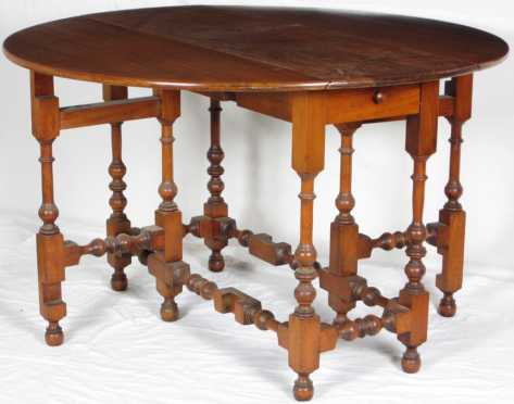 Mahogany William and Mary style drop leaf table