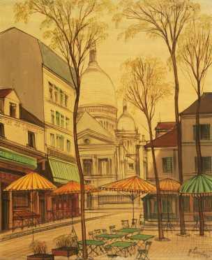 Paul Lambert, oil on canvas of St. Pierre du Montmartre Church
