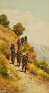 """Pierre Comba, watercolor on paper """"Chasseurs alpins"""" (mountain soldiers)"""