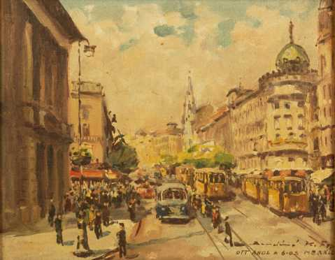 French City Scene Painting , 20th century, oil on canvas