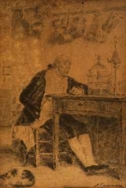 """Antonio Casanova Estorach,  etching """"The Music Lesson"""""""