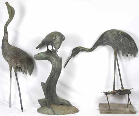 Three Cast Zink Birds