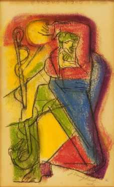 "James Daugherty, crayon on paper, titled  ""Exodus 4-2-5"""