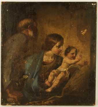 """Italian Old Master Style, oil on canvas of the """"Holy Family,"""""""