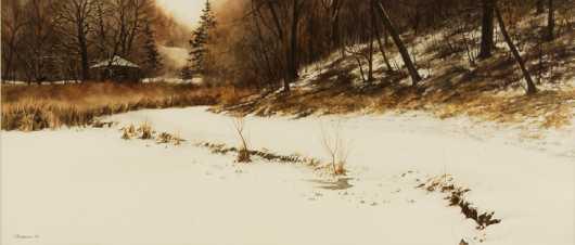 "Susan Peterson, watercolor on paper, ""Snowy Scene"""