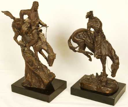 Bronzes After Frederick Remington, lot of 2 western themed bronzes