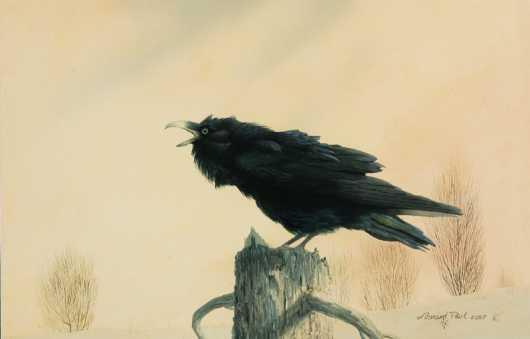 "Leonard Paul, watercolor on paper, ""A Crow"""
