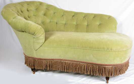 Recamier, new tufted lime velvet upholstery