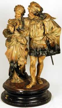 Faust & Marguerite, cold painted plaster