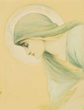 """Watercolor on Paper of a """"Holy Woman,"""""""