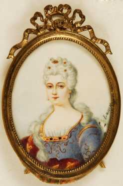"""French Signed """"Lamy""""  Watercolor Miniature Portrait"""