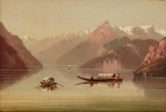 Miniature oil on artist's board landscape of an Alpine lake scene