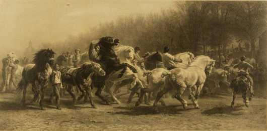 "The Horse Fair Engraving, original artwork of Rosa Bonheur engraved by ""C.G. Lewis,"""