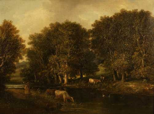 19th century Unsigned Oil On Canvas of Cows grazing