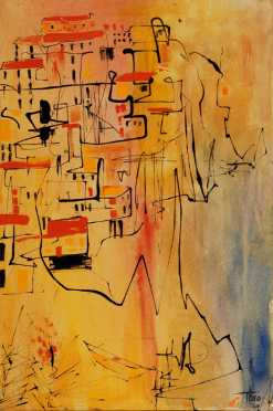 Theo, abstract painting of a city