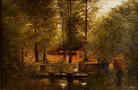 R. Clement, primitive oil on canvas