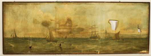 Gravesend England Panoramic Painting with sailing ships