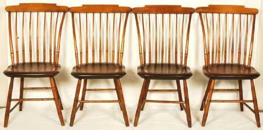 Set Of Four Step Down Windsor Chairs