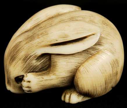 Carved Ivory Rabbit Netsuke, signed