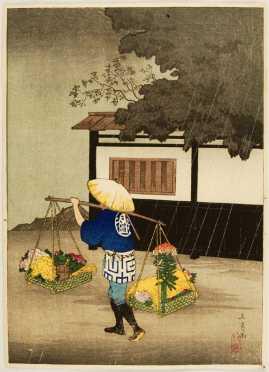 Three Japanese Block Prints by Takahashi Shotei Hiroaki