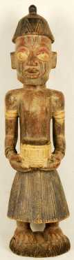 Large African Wooden Carving of a male bearded figure
