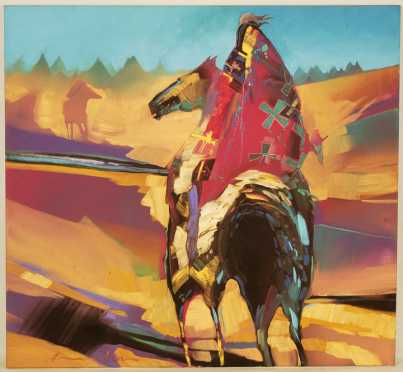 Bruce Carlton (BC) Nowlin, oil on canvas of a Native American
