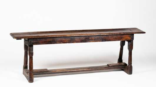 17thC English Stretcher Based Bench