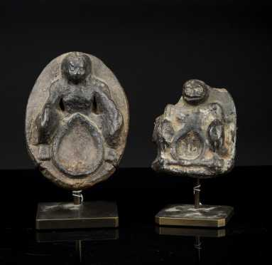 Two Early Nepalese Skeleton Pottery Lamps