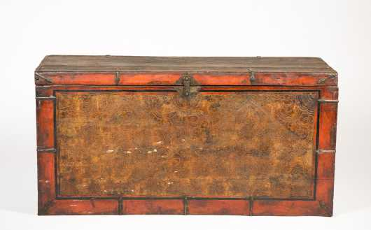 Tibetan Paint Decorated Blanket Chest