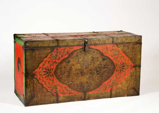 Tibetan 19thC Dragon Decorated Blanket Chest